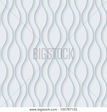 Wavy. White paper with outline extrude effect. Abstract 3d seamless background.