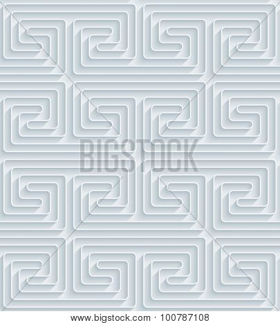 Greek meander. White paper with outline extrude effect. Abstract 3d seamless background.