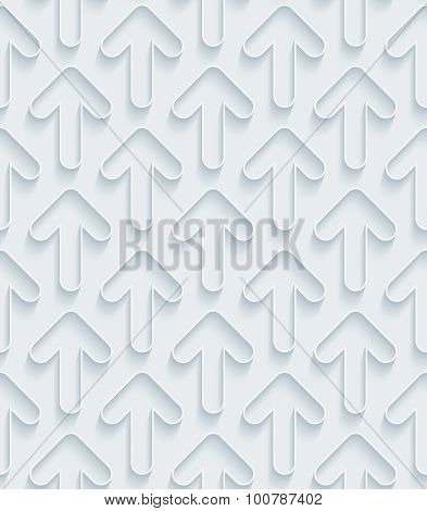 Arrows. White paper with outline extrude effect. Abstract 3d seamless background.