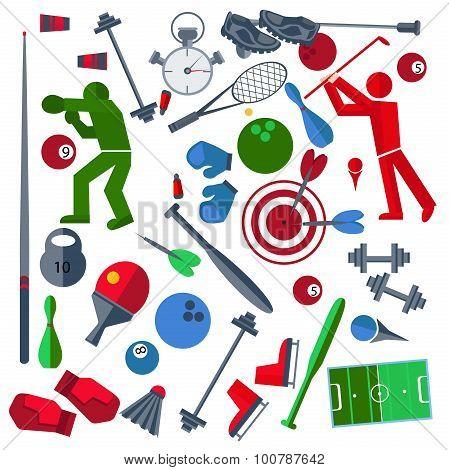Set athletes, sports goods, balloons