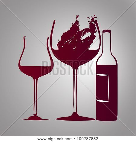 glass of wine and bottle  with splash red