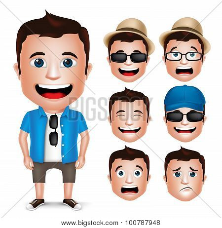 3D Realistic Man Character Wearing Casual Dress with Set of Head