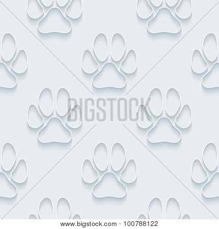Dog paws. White paper with outline extrude effect. Abstract 3d seamless background.