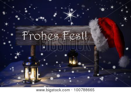 Sign Candlelight Santa Hat Fohes Fest Means Merry Christmas