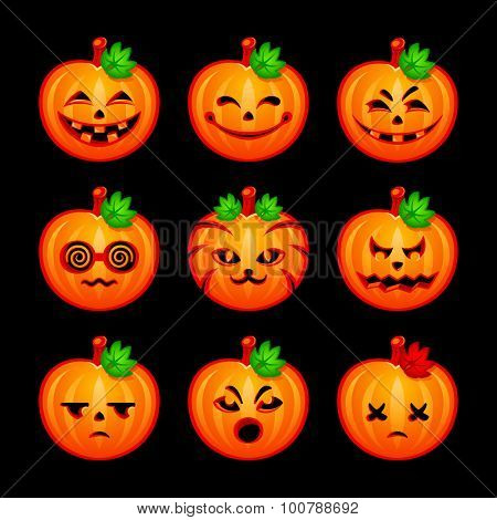 Colorful pumpkin emotional faces for Halloween isolated