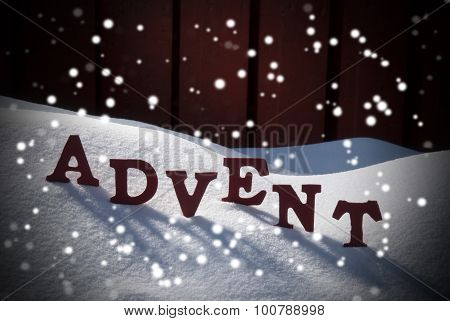 Advent Mean Christmas Time On Snow With Snowflakes