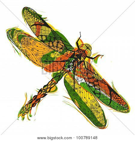 Zentangle stylized dragonfly with abstract colorful grunge background
