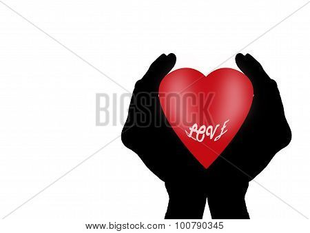 Heart With Love In Cupped Hands Silhouette