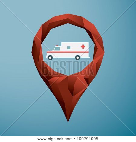 Emergency symbol in low poly location pin. Ambulance icon for navigation.