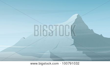 High mountain peak vector illustration. Winter range silhouette with clouds. Outdoor sports wallpape