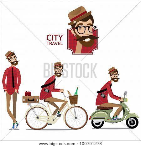 Set of city travelers