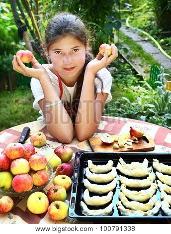 Girl Cook Apple Croissants With Own Apples From Garden