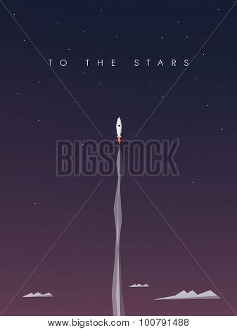 Startup business background. Space rocket flying to the stars. Exploration and discovery concept. Sy