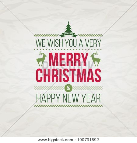 Vector Christmas typographic greeting card design.