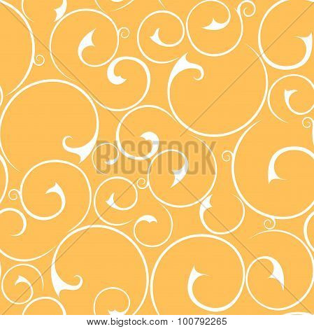 Seamless floral white and orange pattern. Vector illustration.