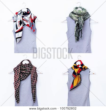 Fashion Collection Of Ladies' Scarves. Different Combinations Colors