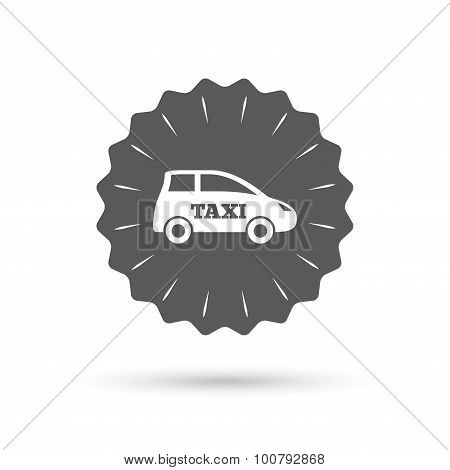 Taxi car sign icon. Hatchback symbol.