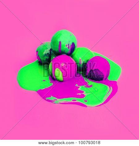 Acid Ice Cream Design. Explosion Summer Colors. Ice Cream Melt