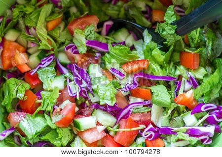 Healthy Salad With Tomatoes, Cucumber, Spinach And Cabbage