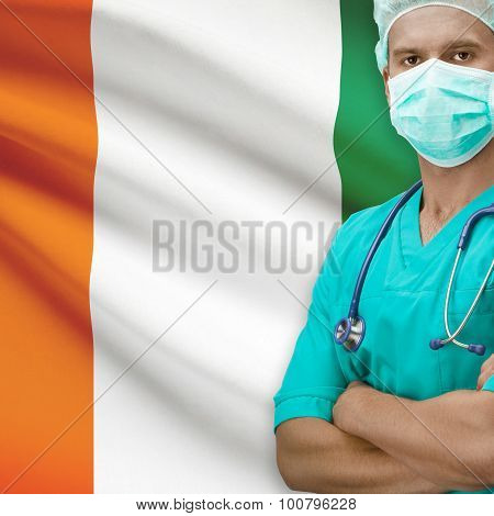 Surgeon With Flag On Background Series - Ivory Coast