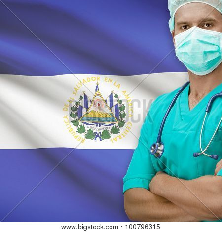 Surgeon With Flag On Background Series - El Salvador
