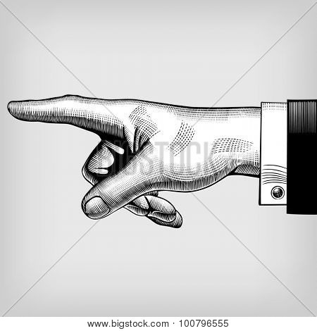 Vintage engraving drawing of pointing hand