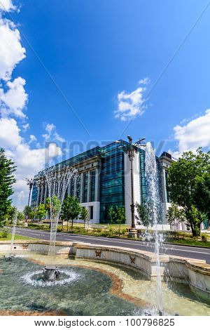 Modern Building Of National Library, Bucharest, Romania