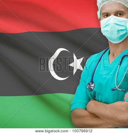Surgeon With Flag On Background Series - Libya
