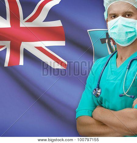 Surgeon With Flag On Background Series - Montserrat