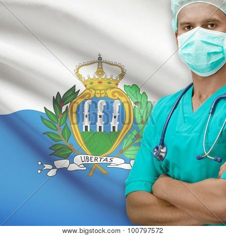 Surgeon With Flag On Background Series - San Marino