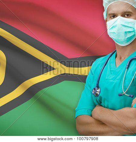 Surgeon With Flag On Background Series - Vanuatu