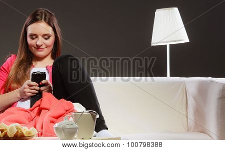 Woman Using Mobile Phone Texting Messages