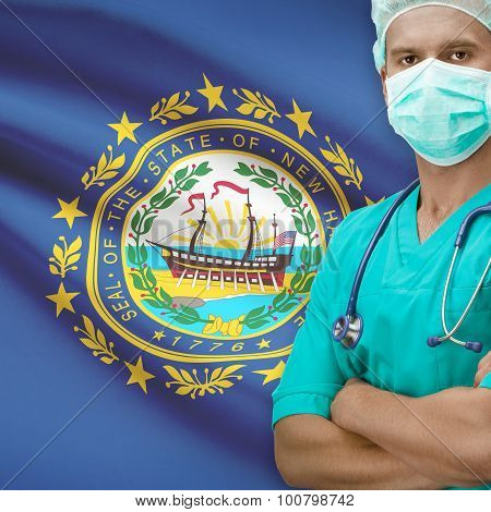 Surgeon With Us States Flags On Background Series - New Hampshire