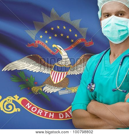 Surgeon With Us States Flags On Background Series - North Dakota