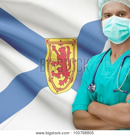 Surgeon With Canadian Province Flag On Background Series - Nova Scotia