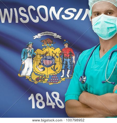 Surgeon With Us States Flags On Background Series - Wisconsin