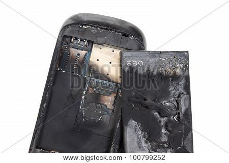 smartphone explodes and burns