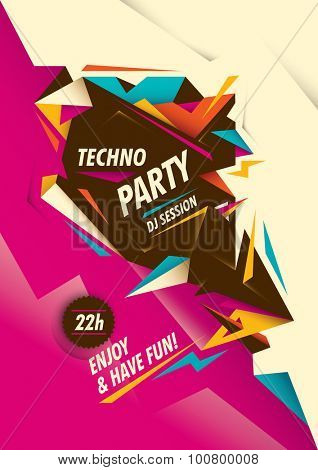 Abstract techno party poster design. Vector illustration.