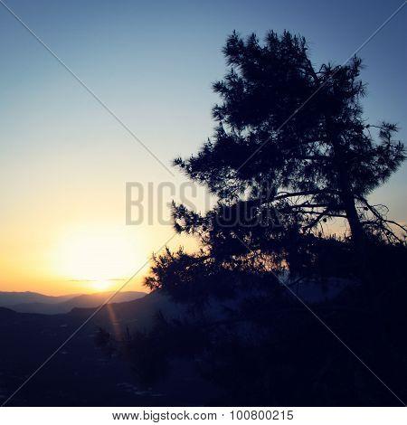 Sunset In The Mountains Near Adrasan, Antalya Province, Turkey.
