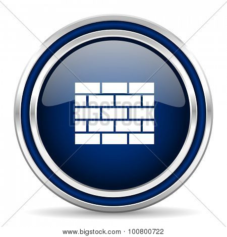 firewall blue glossy web icon modern computer design with double metallic silver border on white background with shadow for web and mobile app round internet button for business usage
