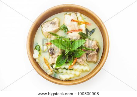 Green Curry With Chicken Isolated On White Background