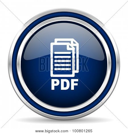 pdf blue glossy web icon, modern computer design with double metallic silver border on white background with shadow for web and mobile app round internet button for business usage