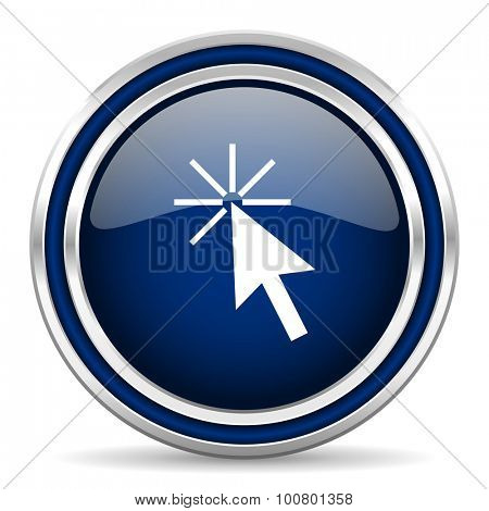 click here blue glossy web icon modern computer design with double metallic silver border on white background with shadow for web and mobile app round internet button for business usage