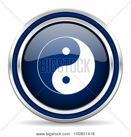 ying yang blue glossy web icon modern computer design with double metallic silver border on white background with shadow for web and mobile app round internet button for business usage