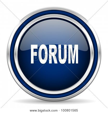 forum blue glossy web icon modern computer design with double metallic silver border on white background with shadow for web and mobile app round internet button for business usage