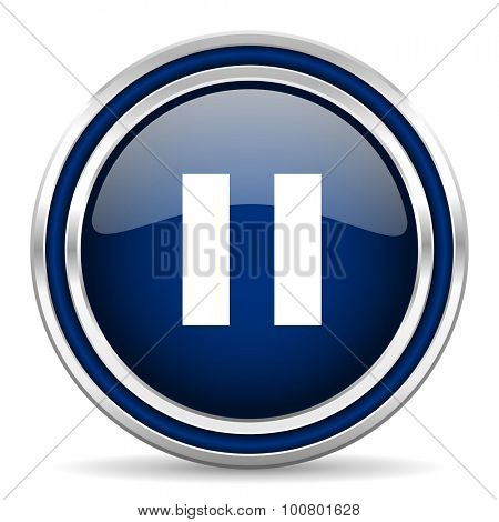 pause blue glossy web icon modern computer design with double metallic silver border on white background with shadow for web and mobile app round internet button for business usage