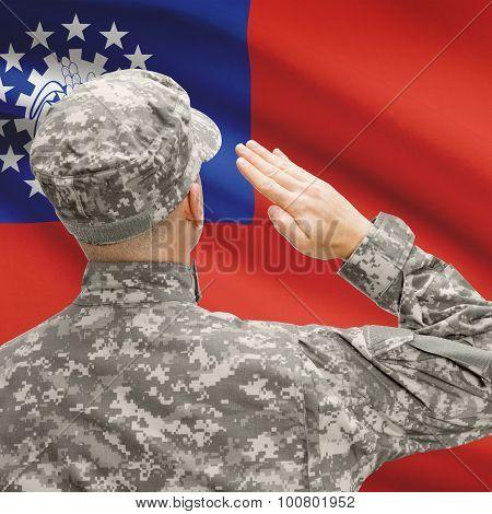 Soldier In Hat Facing National Flag Series - Burma
