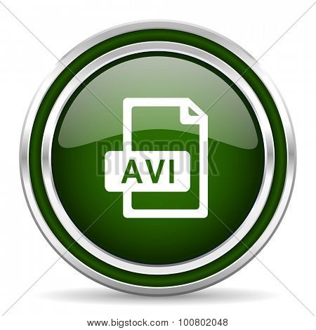 avi file green glossy web icon  modern design with double metallic silver border on white background with shadow for web and mobile app round internet original button for business usage
