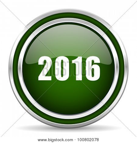year 2016 green glossy web icon modern design with double metallic silver border on white background with shadow for web and mobile app round internet original button for business usage