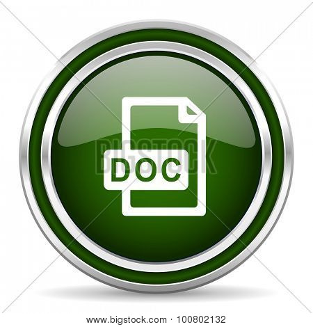doc file green glossy web icon  modern design with double metallic silver border on white background with shadow for web and mobile app round internet original button for business usage